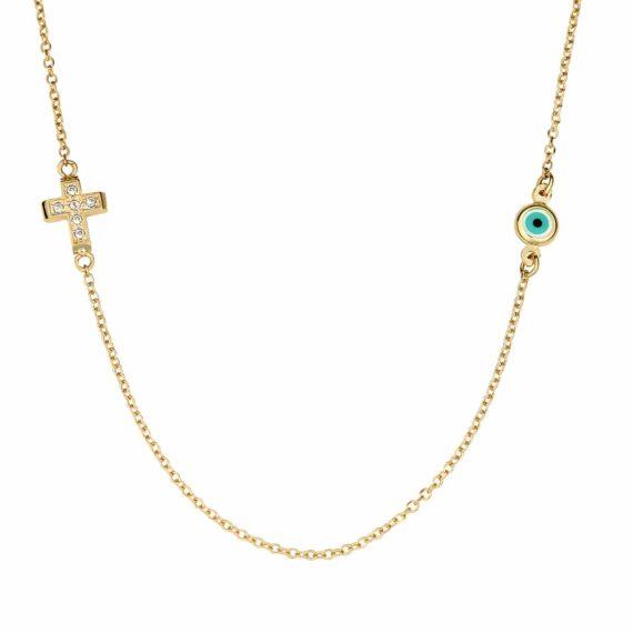 Βραχιόλι Ματάκι Σταυρουδάκι Χρυσό Με Ζιργκόν 002987