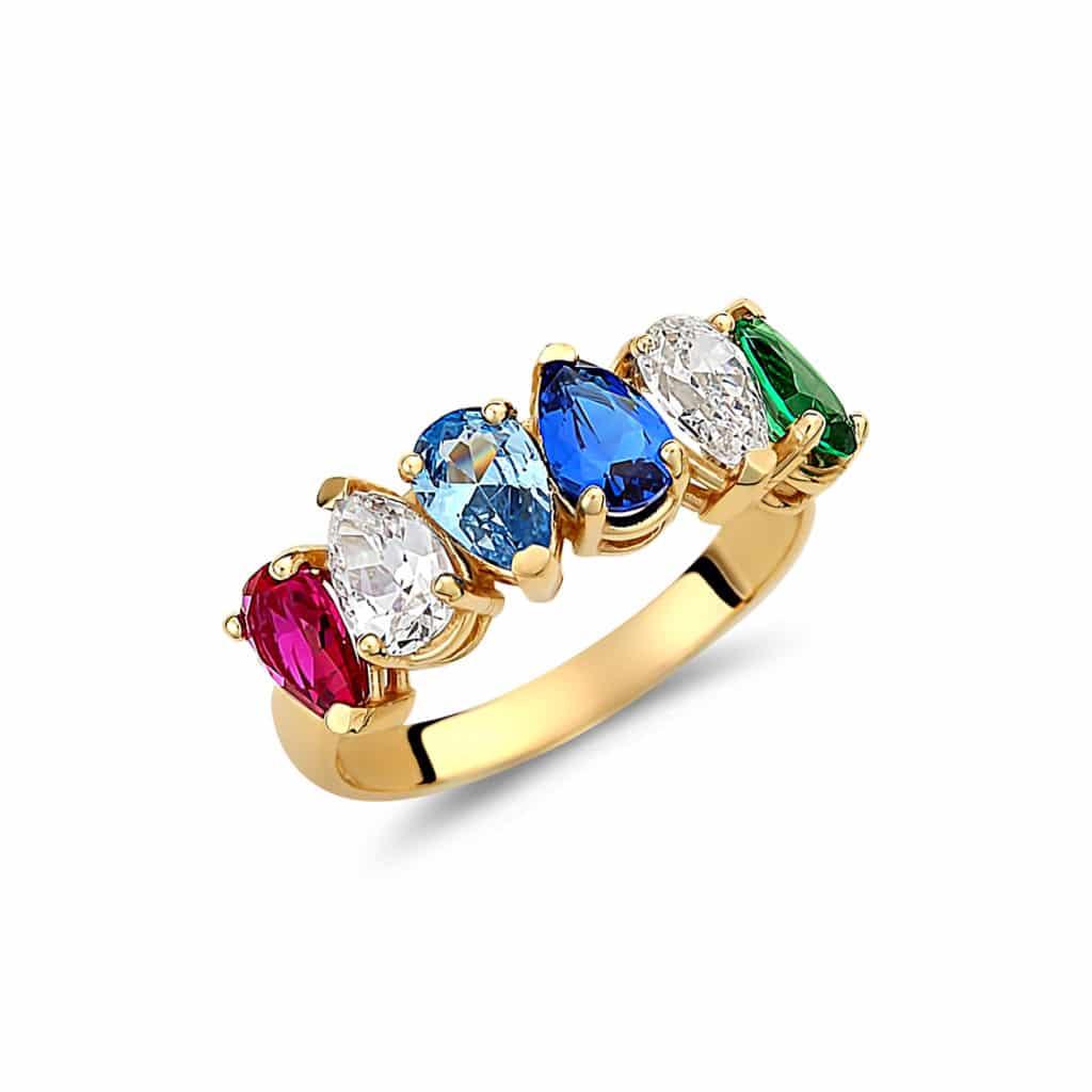 Δαχτυλίδι Χρυσό Μισόβερο Με Ορυκτές Χρωματιστές Πέτρες Ζιργόν 003003 Jewelor