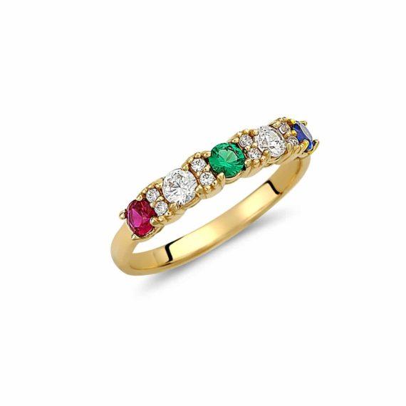 Δαχτυλίδι Χρυσό Μισόβερο Με Ορυκτές Χρωματιστές Πέτρες Ζιργόν 003004 Jewelor