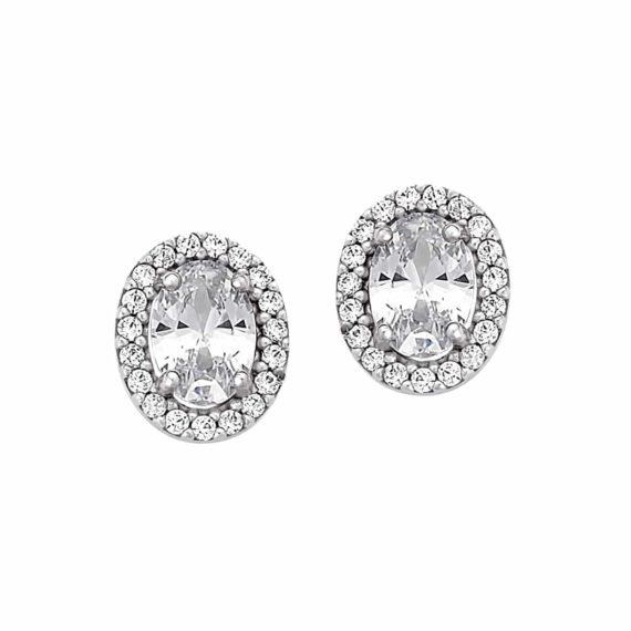 Καρφωτά Οβάλ Σκουλαρίκια Λευκόχρυσα Με Ζιργκόν 003017 Jewelor