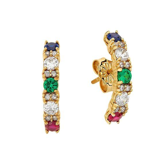 Καρφωτά Σκουλαρίκια Χρυσά Με Πολύχρωμο Ζιργκόν 003006 Jewelor