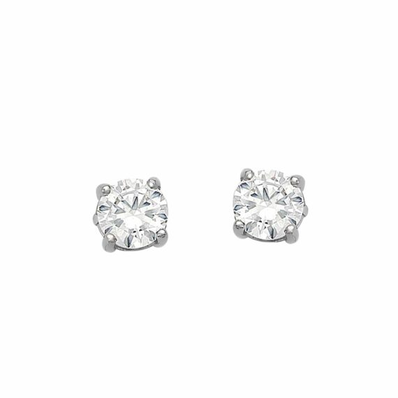 Καρφωτά Σκουλαρίκια Λευκόχρυσα Με Ζιργκόν 003039 Jewelor