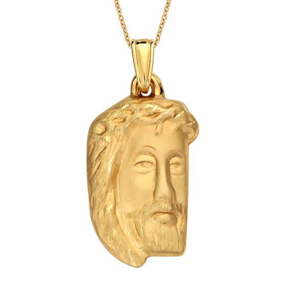 Κωνσταντινάτο Φυλαχτό Ιησούς Χριστός Χρυσό Ανάγλυφο Ματ Μεγάλο 003050 Jewelor