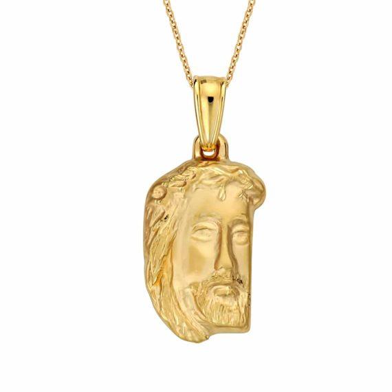 Κωνσταντινάτο Φυλαχτό Ιησούς Χριστός Χρυσό Ανάγλυφο Ματ Μικρό 003051 Jewelor
