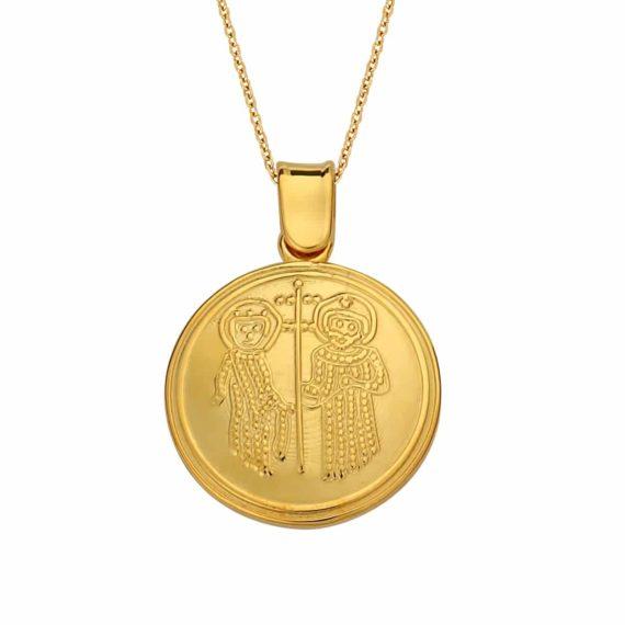 Κωνσταντινάτο Φυλαχτό Ιησούς Χριστός Χρυσό Ανάγλυφο Με Ζιργκόν Διπλής Όψης 003046 2 Jewelor