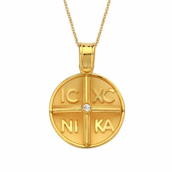 Κωνσταντινάτο Φυλαχτό Ιησούς Χριστός Χρυσό Ανάγλυφο Με Ζιργκόν Διπλής Όψης 003046 Jewelor