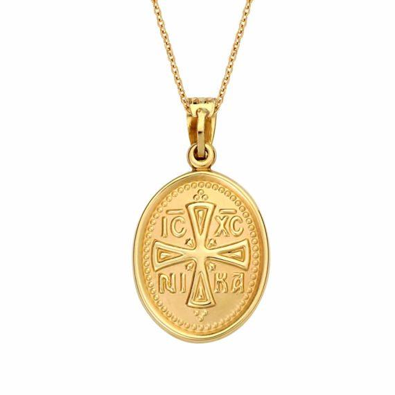 Κωνσταντινάτο Φυλαχτό Παναγία Δίχρωμο Χρυσό Ανάγλυφο Διπλής Όψης 003043 2 Jewelor