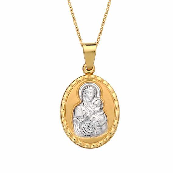 Κωνσταντινάτο Φυλαχτό Παναγία Δίχρωμο Χρυσό Ανάγλυφο Διπλής Όψης 003043 Jewelor