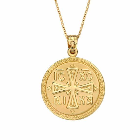 Κωνσταντινάτο Φυλαχτό Παναγία Δίχρωμο Χρυσό Ανάγλυφο Διπλής Όψης 003049 2 Jewelor