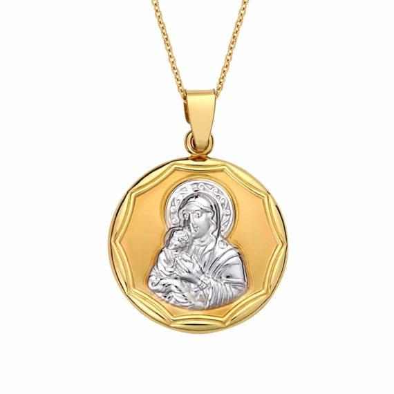 Κωνσταντινάτο Φυλαχτό Παναγία Δίχρωμο Χρυσό Ανάγλυφο Διπλής Όψης 003049 Jewelor