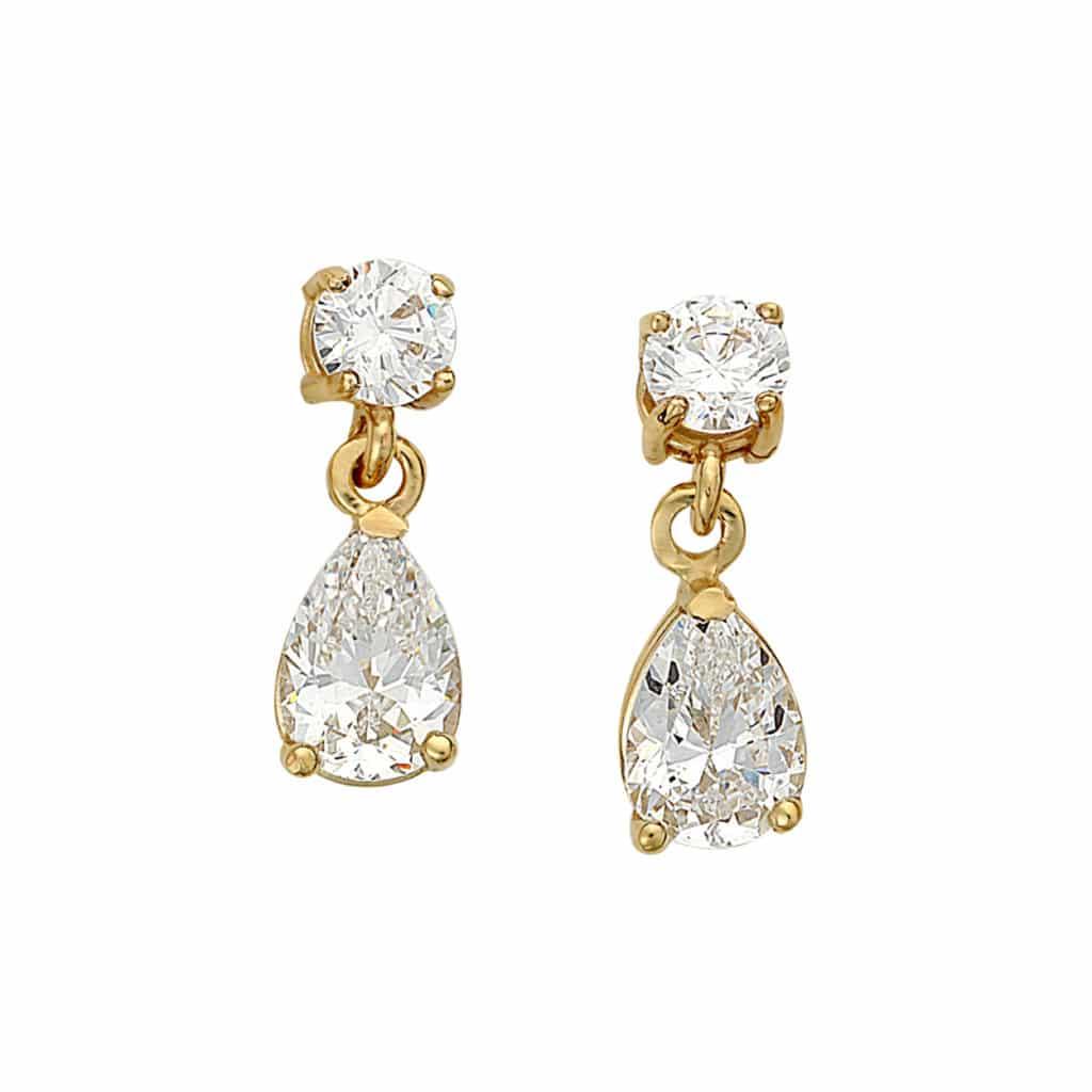 Κρεμαστά Σκουλαρίκια Χρυσά Με Ζιργκόν 003020 Jewelor