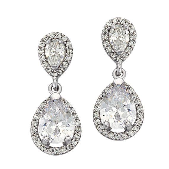 Κρεμαστά Σκουλαρίκια Δάκρυα Λευκόχρυσα Με Ζιργκόν 003011 Jewelor