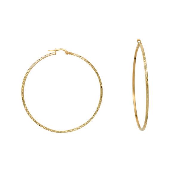 Κρεμαστά Σκουλαρίκια Κρίκοι Σφυρήλατα Χρυσά 003056 Jewelor