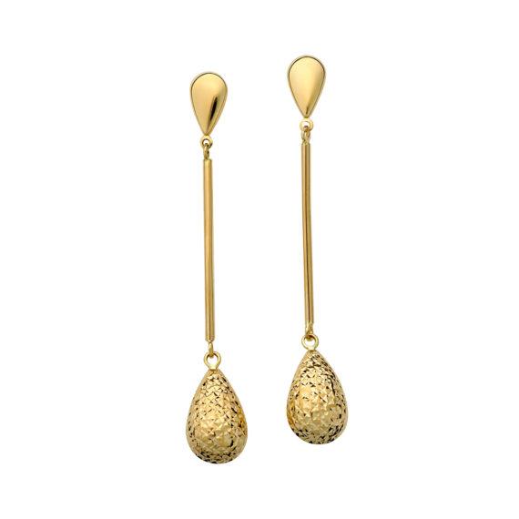 Κρεμαστά Σκουλαρίκια Σταγόνες Σφυρήλατα Χρυσά 003058 Jewelor