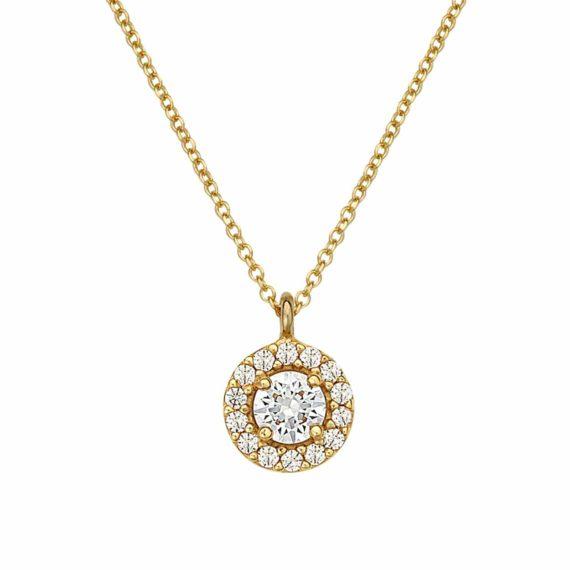Μενταγιόν Στρόγγυλο Χρυσό Με Ζιργκόν 003015 Jewelor