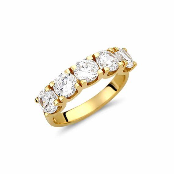 Μισόβερο Δαχτυλίδι Χρυσό Με Ζιργκόν 003013 Jewelor