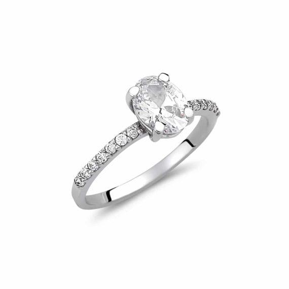 Μισόβερο Μονόπετρο Δαχτυλίδι Λευκόχρυσο 003041 Jewelor