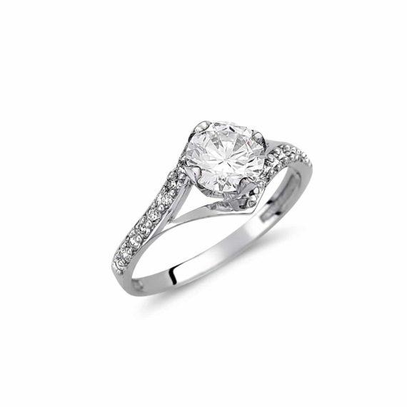 Μισόβερο Μονόπετρο Δαχτυλίδι Λευκόχρυσο Με Ζιργκόν 003033 Jewelor