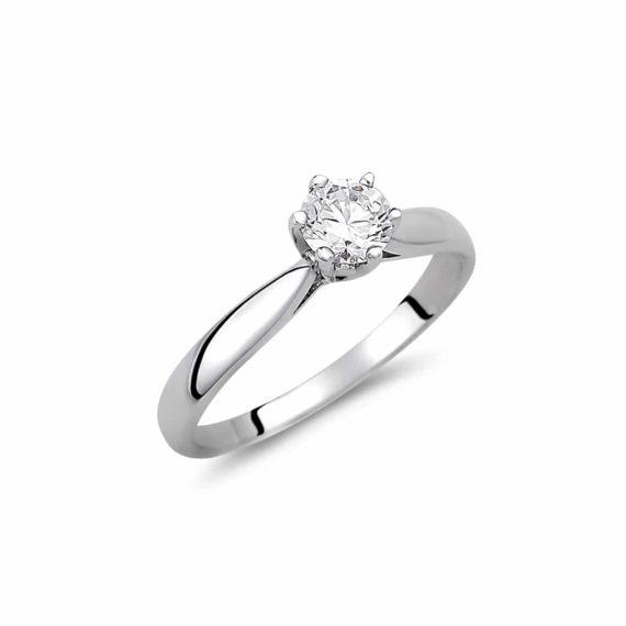 Μονόπετρο Δαχτυλίδι Λευκόχρυσο Με Ζιργκόν 003037 Jewelor