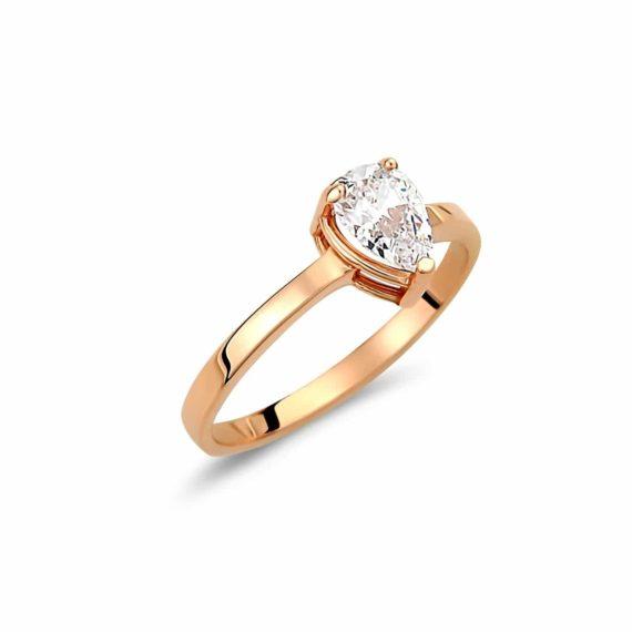 Μονόπετρο Δαχτυλίδι Ροζ Χρυσό Με Λευκό Ζιργκόν 003008 Jewelor