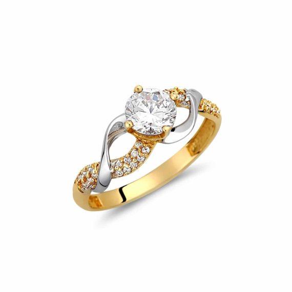 Μοντέρνο Μισόβερο Δαχτυλίδι Δίχρωμο Με Ζιργκόν 003038 Jewelor
