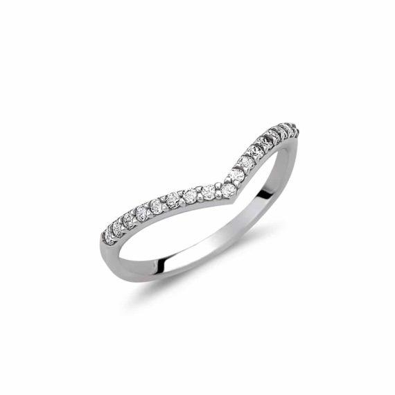 Μοντέρνο Μισόβερο Δαχτυλίδι Λευκόχρυσο Με Ζιργκόν 003025 Jewelor