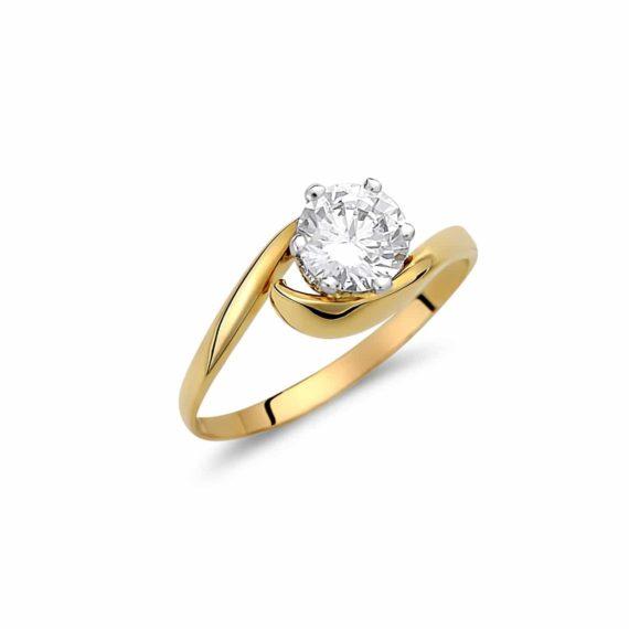 Μοντέρνο Μονόπετρο Δαχτυλίδι Χρυσό Με Ζιργκόν 003036 Jewelor