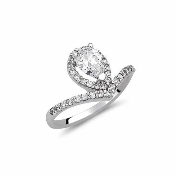 Μοντέρνο Μονόπετρο Δαχτυλίδι Λευκόχρυσο Με Ζιργκόν 003030 Jewelor
