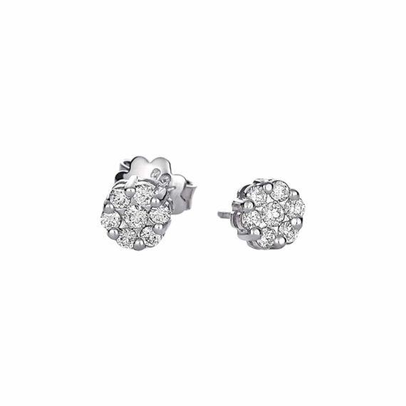 Στρόγγυλα Διαμαντένια Καρφωτά Σκουλαρίκια 002999