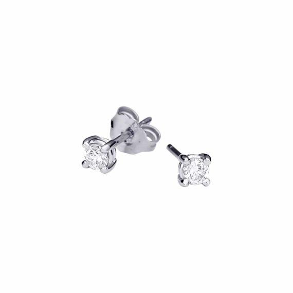 Στρόγγυλα Διαμαντένια Καρφωτά Σκουλαρίκια 003001