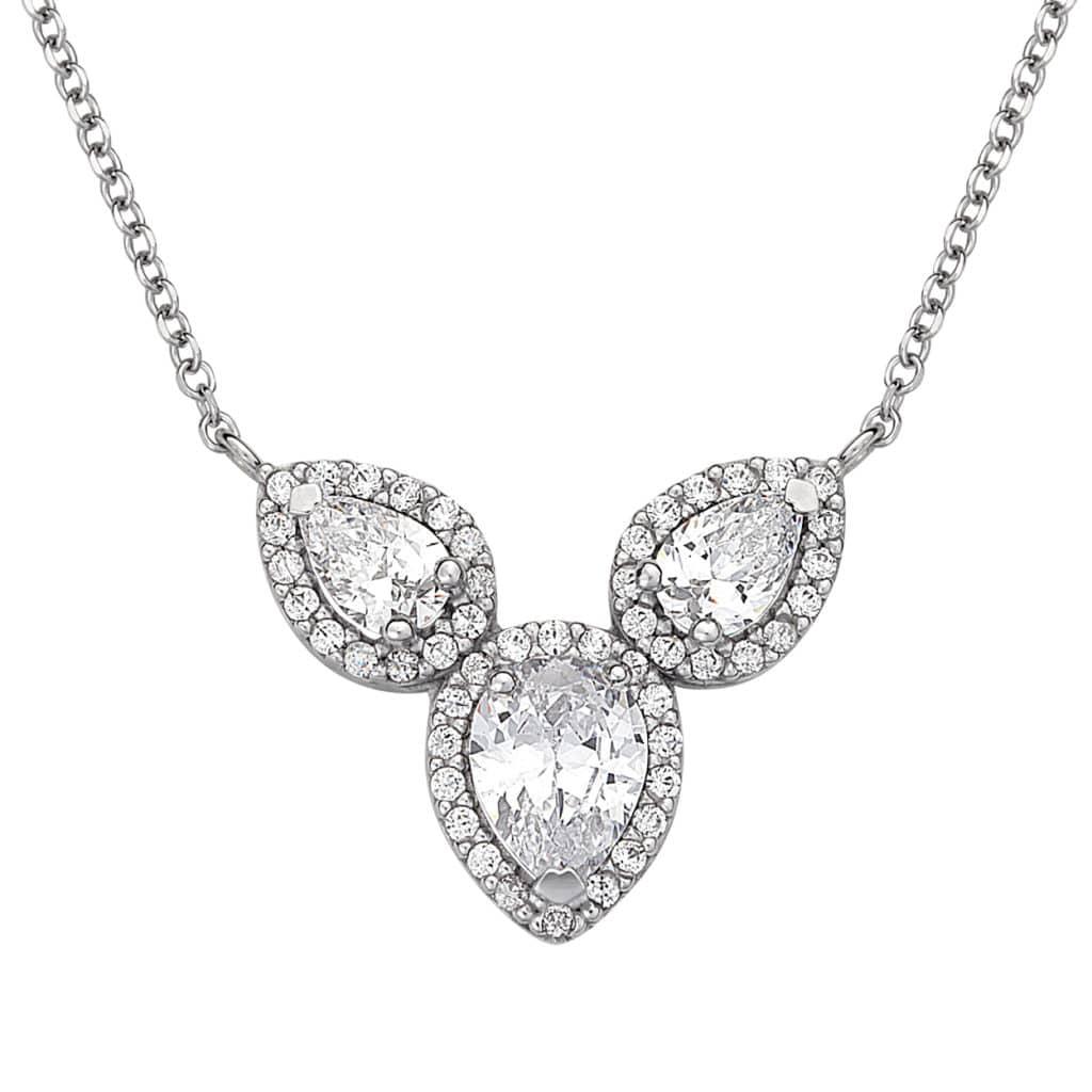 Τριπλό Μενταγιόν Λευκόχρυσο Με Ζιργκόν 003002 Jewelor