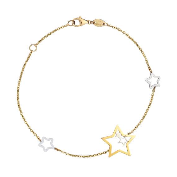 Βραχιόλι Αλυσίδα Αστεράκια Κίτρινος Και Λευκός Χρυσός 003054 Jewelor