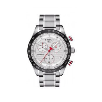 Tisot PRS 516 Silver-Black-Red Chronograph Men's Watch