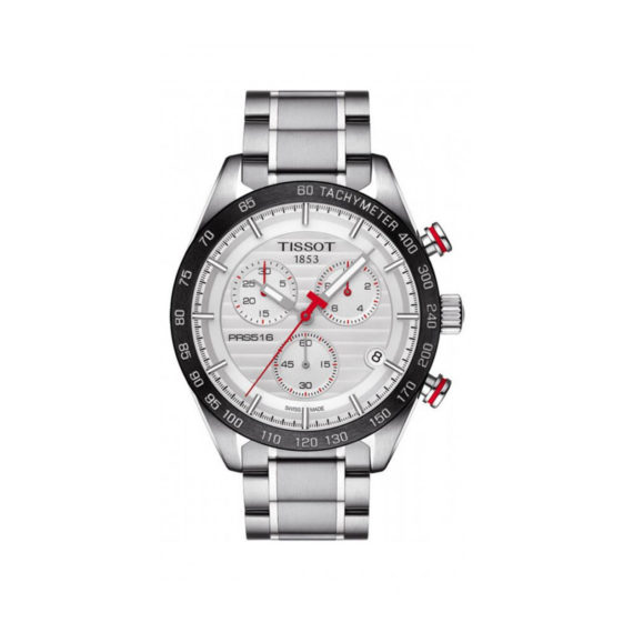 T100.417.11.031.00 Tisot PRS 516 Silver Black Red Chronograph Men's Watch Jewelor