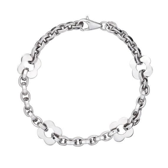 003075 Βραχιόλι Αλυσίδα Με Λουλούδια Λευκόχρυσο Jewelor