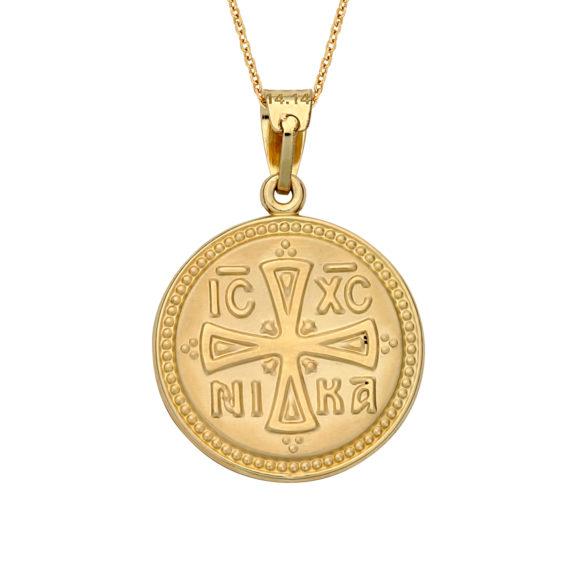 Κωνσταντινάτο Φυλαχτό Ιησούς Χριστός Ανάγλυφο Χρυσό Διπλής Όψης 003061 2 Jewelor