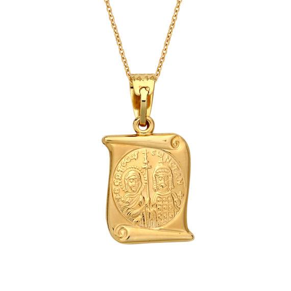 Κωνσταντινάτο Φυλαχτό Ιησούς Χριστός Ανάγλυφο Χρυσό Και Λευκόχρυσο Διπλής Όψης 2 003062 Jewelor