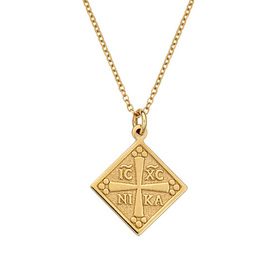 Κωνσταντινάτο Φυλαχτό Ιησούς Χριστός Ανάγλυφο Χρυσό Ρόμβος 003066 Jewelor