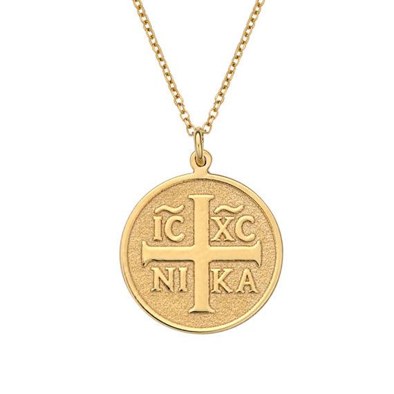 Κωνσταντινάτο Φυλαχτό Ιησούς Χριστός Ανάγλυφο Χρυσό Στρόγγυλο 003067 Jewelor