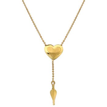 Κρεμαστό-Καρδιά Χρυσό Ματ-Γυαλιστερό Με Ζιργκόν 14K