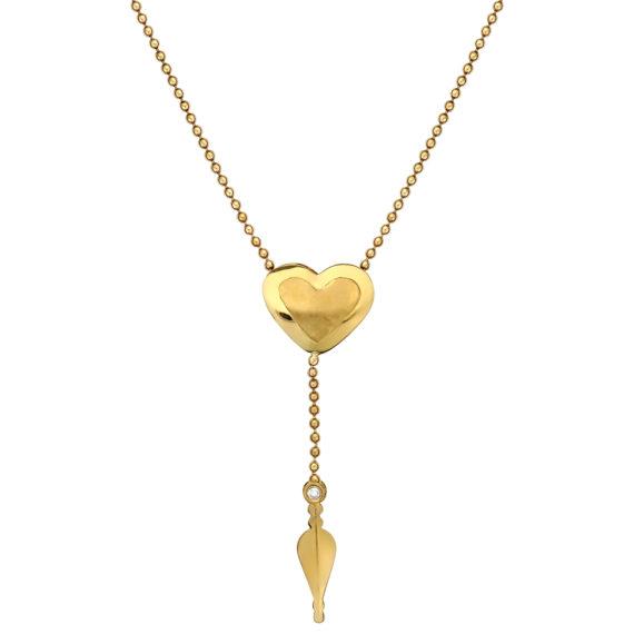 Κρεμαστό Καρδιά Χρυσό Ματ Γυαλιστερό Με Ζιργκόν 003065 Jewelor