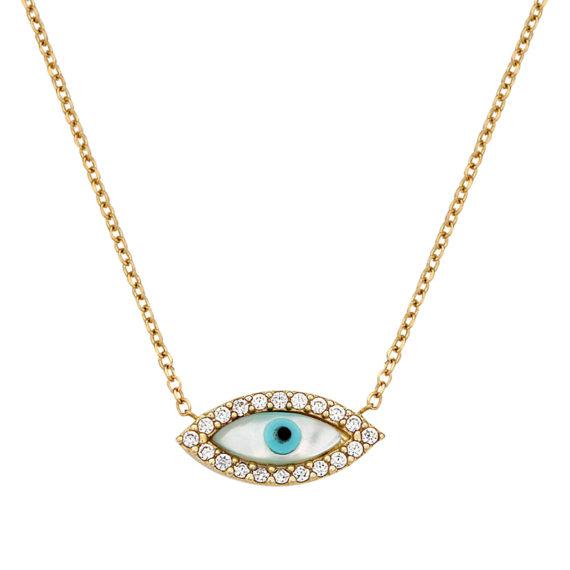 Κρεμαστό Ματάκι Χρυσό Με Ζιργκόν Και Σμάλτο Οβάλ 003068 Jewelor