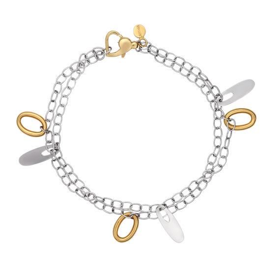 Μοντέρνο Βραχιόλι Αλυσίδα Χρυσό Και Λευκόχρυσο Με Κρεμαστούς Κρίκους 003077 Jewelor