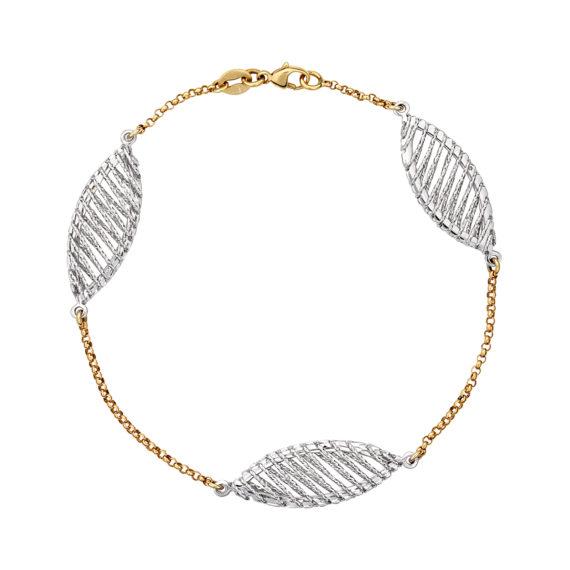 Μοντέρνο Βραχιόλι DNA Χρυσό Και Λευκόχρυσο 003078 Jewelor
