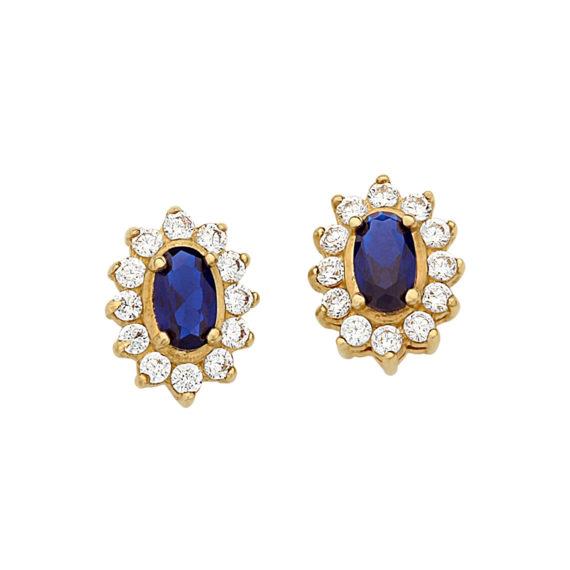 Σκουλαρίκια Ροζέτα Χρυσά Με Ζιργκόν 003072 Jewelor
