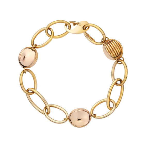 Βραχιόλι Αλυσίδα Με Κίτρινο Και Ροζ Χρυσό 003073 Jewelor
