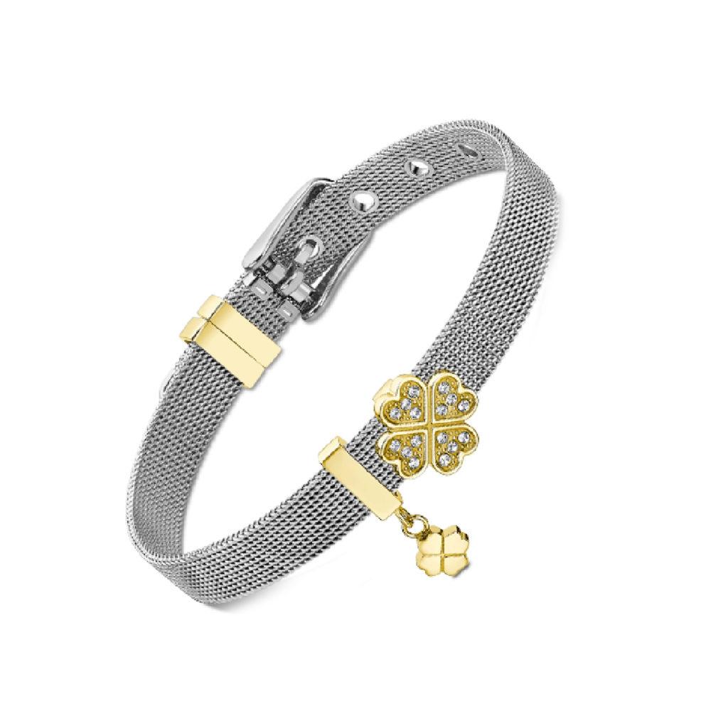 Βραχιόλι Bliss Lotus Style Ανάγλυφο Με Ζιργκόν LS2122 2 1 Jewelor