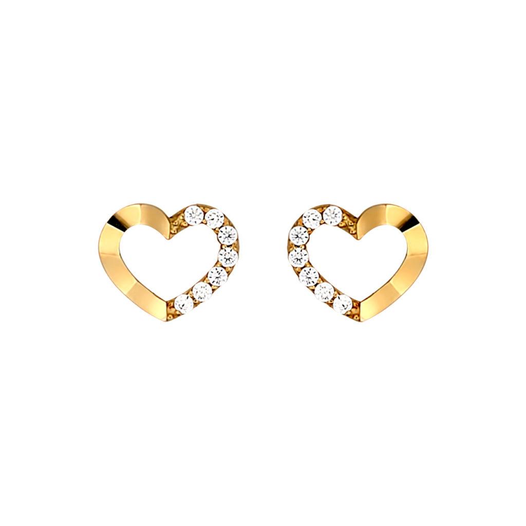 Ανάγλυφα 'Καρφωτά Σκουλαρίκια Καρδούλες Χρυσά Με Ζιργκόν 003113 Jewelor