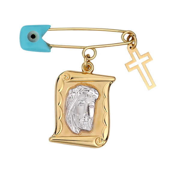 Ανάγλυφη Παραμάνα Ιησούς Χριστός Χρυσή Και Λευκόχρυση 003091 Jewelor
