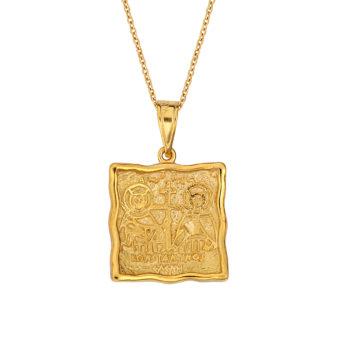 Ανάγλυφο Κρεμαστό Φυλαχτό Ιησούς Χριστός Χρυσό Και Λευκόχρυσο Διπλής Όψης 003092 Jewelor 2